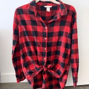 H&M Red and Black Plaid Shirt size 8